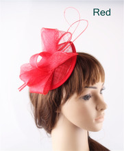 Red teardrop base sinamay top bow fascinators ostrich quill hats for women party church cocktail headwear headbands 17 Colors(China)