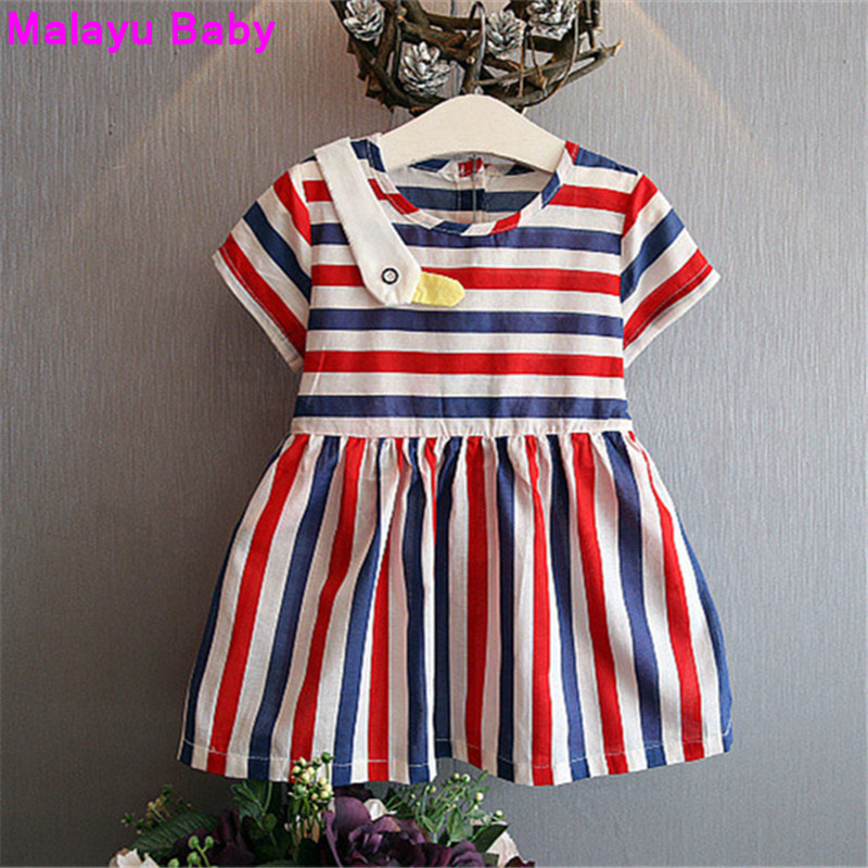 Malayu Baby Europe 2016 new summer brand girls short-sleeved dress fashion color stripes 3-7 years old girl<br><br>Aliexpress