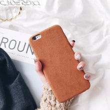 CIDERENA Mobile Shell 1 Pc/lot Soft PU Simple Flannel Suede Microfiber Solid Color Cell Phone Case Cover for iPhone 8 7(China)