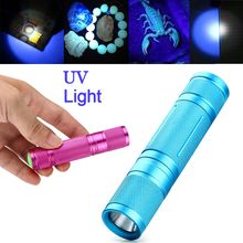 2017 NEW Led UV Flashlight 365nm Purple Ultra Violet Light Torch fluorescer detected light Lamp AA/14500 Black