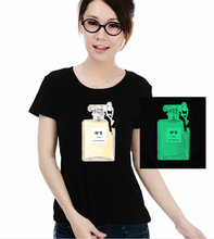 Fashion women multicolor lady girl waist slim perfume bottle print glow in dark luminous concert party game  T-Shirt Tee top
