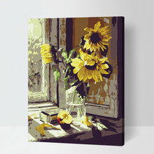 MaHuaf-X171 Digital Oil Painting On Canvas hand painted set of windows sunflower 40x50 framed wall Pictures Painting By Numbers