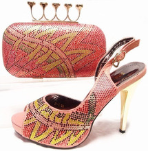 Promotion sale in peach color Shoes With Matching Bags For Party, High Quality African Shoes And JA10-5-1 Bags Set for Wedding