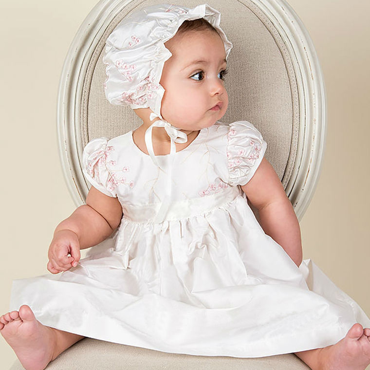 With Hat Baby Girl Christening Dresses Long Sleeves A line Floor ...