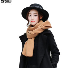 ZFQHJJ 190x45cm High Quality Women Cashmere Wool Scarf Winter Warm Scarves fit Unisex Men Lover Solid Plain Pashmina Shawls Wrap(China)