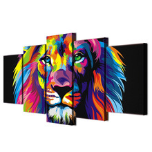Lion Painting 5 piece Canvas art HD Printed Colorful lion room decoration print poster wall picture canvas Free shipping/tt-2527