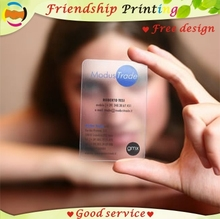 Custom business card printing/ plastic transparent pvc card print/waterproof/ name/visiting card Free Shipping(China)