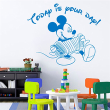 Cute Mickey Mouse Art Wallpaper today is your day Home Decor kids Children BedroomDecor Vinyl Wall Sticker M393