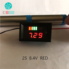 Red Charge Level Indicator Battery Capacity Tester Dual Display LED Digital Voltmeter For 2S 2 Series 8.4V Lithium Battery