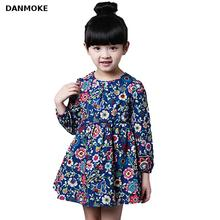 Danmoke 2-8 Ages Girls Dress Casual Long Sleeves Flower Princess Girl Dresses Summer Autumn 2016 Toddler Girl Clothing