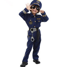 blue police costume for children police suit for kids chinese police uniform boys police uniform cosplay clothing for halloween(China)