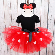 Halloween Girls Dress Kids Minnie Mouse Clothing Set Girls Polka Dots Dress Costume D0087