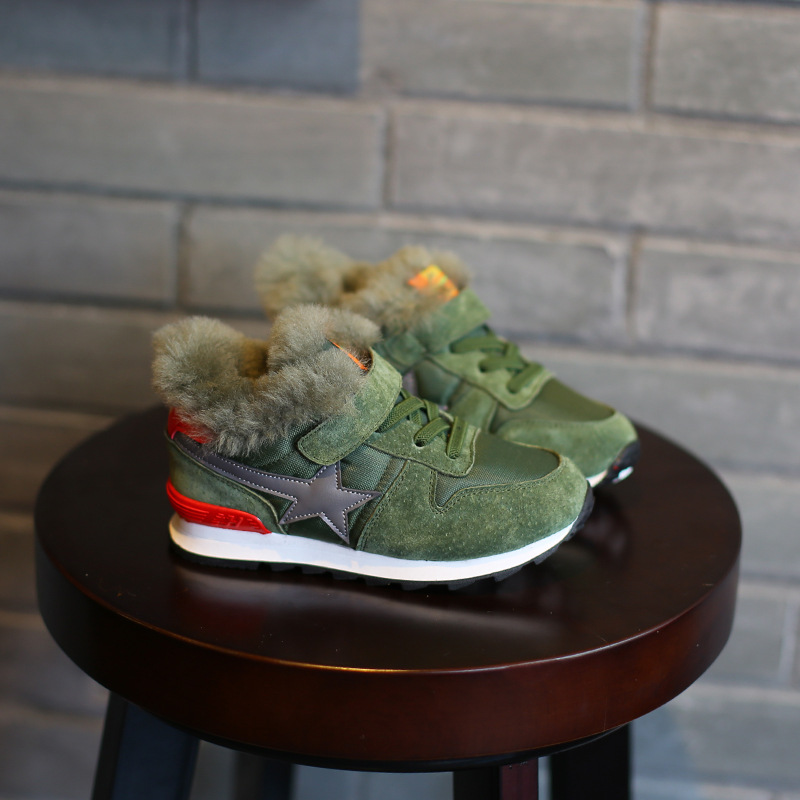 WENDYWU NEW COME Kids Plush Warm Sneakers Casual Winter Children Fur Shoes for Baby Boys Run Sneakers Casual Girls Sports Shoes<br>