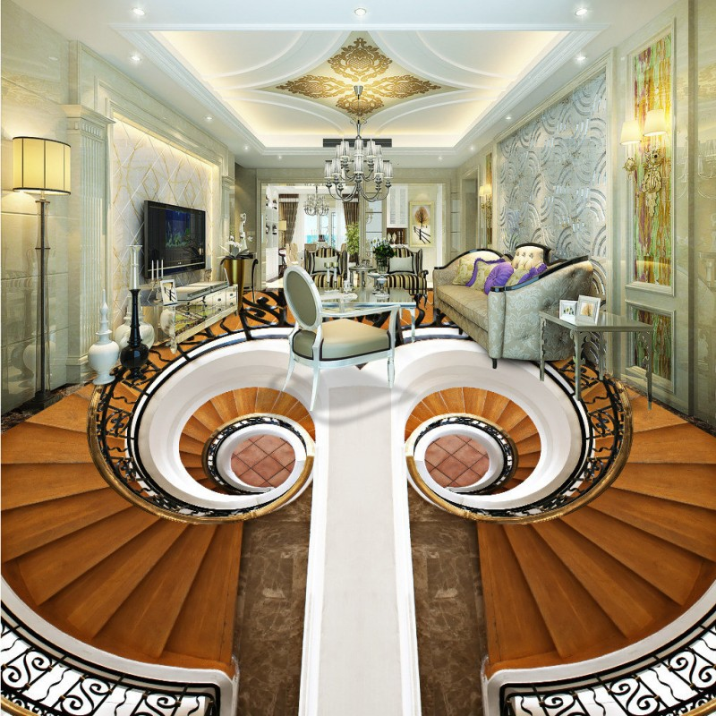 Free shipping custom vintage floor Rotating staircase living room 3D floor home decoration self-adhesive wallpaper mural<br><br>Aliexpress