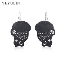 New Design African Head Femme Wrap Turban Shaped Wooden Earrings For Women Ear Jewelry Gift