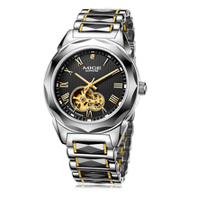 2017 top fashion new Mechanical MAN CLOCK BLACK TUNGSTEN WATCHBAND JAPAN MOVEMENT WATERPROOF SKELETON AUTOMATIC MANS WATCHES