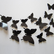 12Pcs Vinyl 3D Removable Decorative Black Butterflies Wall Stciker For Kids Room Christmas 3D Art Wall Decals Home Decor
