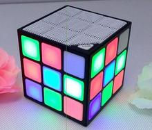 Portable Mini Bluetooth cube Speaker Mini Magic Cube Colorful Wireless Bluetooth Speaker LED Flash Light with TF Card(China)