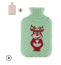 Free shipping 2L large Wool cloth cartoon hot water bag rubber water filling hot water bag dot deer pattern(China)