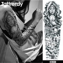 1pc hot full arm tattoo stickers large flower shoulder Our Lady design fake tattoos sleeve body paint death skull rose Fire 48cm(China)