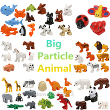 Big Particles Single Sale Animal Elephant Lion Monkey Hippo Octopus Building Blocks Set Model Bricks Toys for Children(China)