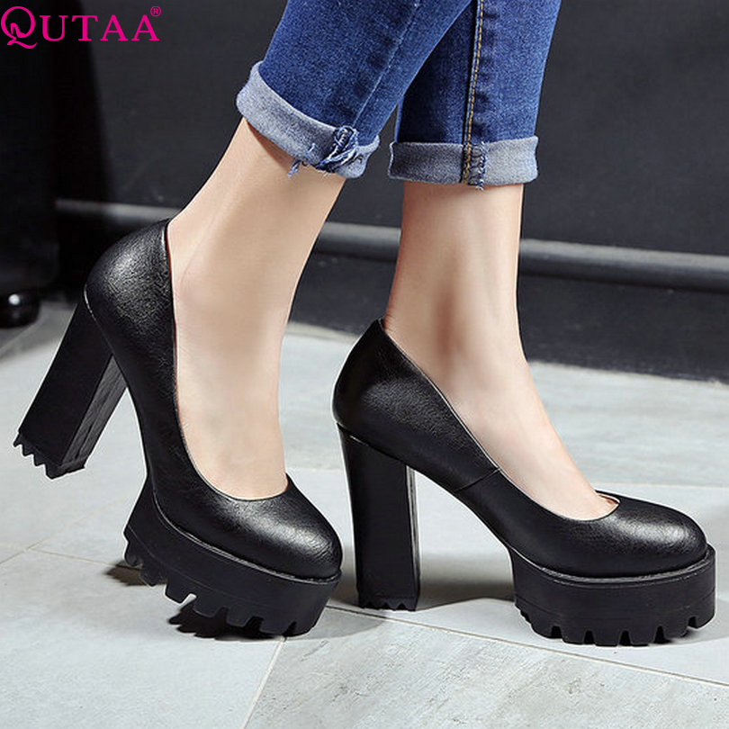 QUTAA 2017 Women Pumps Square High Heel Pointed Toe Western Style Slip On Platform PU leather Ladies Wedding Shoes Size 34-42<br><br>Aliexpress