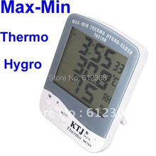 10pcs / lot  House hold Home Digital Indoor Max Min  temperature and humidity Thermometer Hygro Sensor With clock Showing