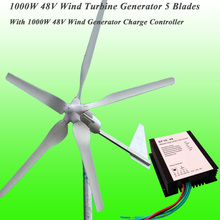 Hot Selling 5 Blades Rated 1000W 48V Wind Turbine & Rated 1KW Wind Generator Charge Controller 1KW Wind Power Generator Kit