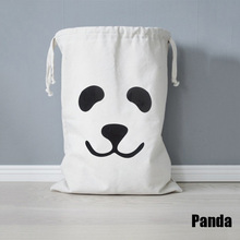 Portable Baby Toys Storage Canvas Bags Panda Bear Pattern Laundry Bag Pouch Baby Kids Toys Storage Bag Cute Wall Pocket #84802
