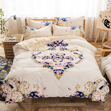 Home Textile 100% cotton bedding set 4pc duvet cover set queen size bed linen black and white 2017 new bedclothes sunflower bed