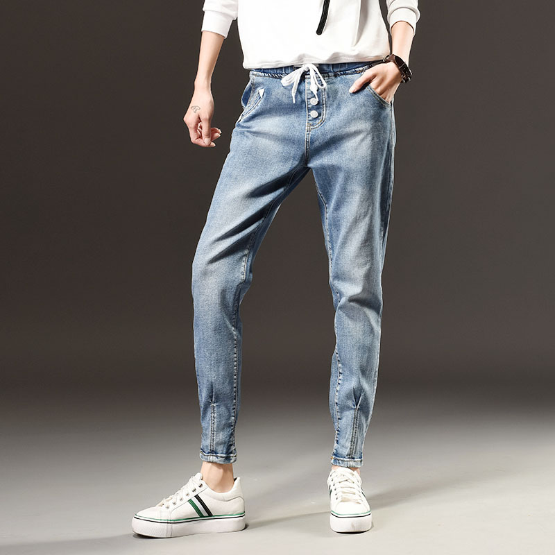 Spring Autumn new fashion thin waist softened jeans large size ladies high waist elastic waist pants trousersОдежда и ак�е��уары<br><br><br>Aliexpress