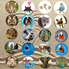 3D Print Throw Roundie Beach Shawl Tiger Leopard Lion Pug Dog Cat Elephant Peacock Parrot Owl Monkey Octopus Round Towel Scarf