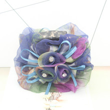New large Snow spins cloth art to crab claw clip Handmade Bohemia Style Hair Claws Fabric Ribbon Flower Hair Accessories Clip(China)