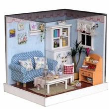 1:32 Dolls House DIY Wooden Dollhouse 3D Model Living Room Miniature With Furniture&LED Light Decoration Toys 16*19.5*12cm