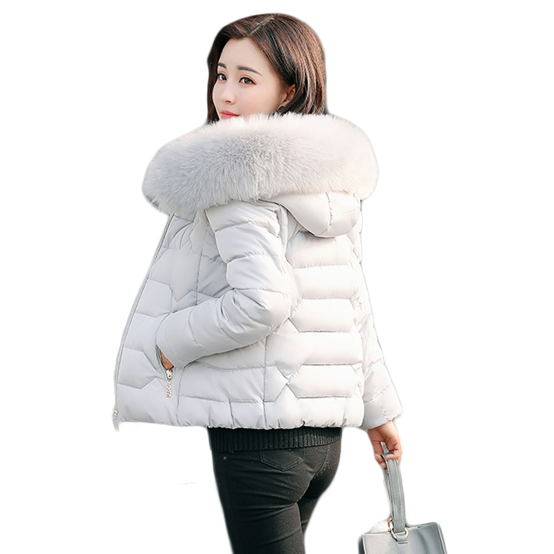 High Quality 2017 Women Winter Jacket Girls Elegant Large Fur Hooded Short Slim Cotton-padded Parkas Coat Plus Size 5XL CM1540Îäåæäà è àêñåññóàðû<br><br>