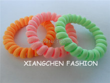 10pcs/lot Fabric Elastic Hair Rubber Band For Girl Telephone Wire Line Neon Color Hair Tie Scrunchy Ponytail Holder Accessories