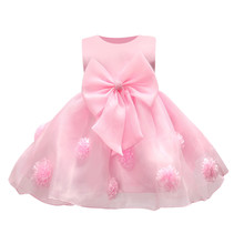 JQ-126 new hot sell baby girl dress lace flower around the kids well beautiful party girls noble pageant wear chic clothes 2017(China)