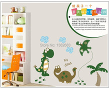 New & Hot!Cartoon Dinosaur Wall Sticker PVC Removable for kids room/bathroom/glass Decor Decals AY7008