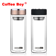 Coffee Boy Transparent Double glass water bottle(China)
