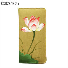Women Wallets Brand Design High Quality Cell phone Card Holder Long zipper Lady Wallet Purse Clutch Hand-painted lotus With Box