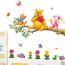 2pc/set wholesale removable cheap winnie pooh children bedroom wall stickers teddy bear wall art decal for baby