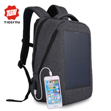 Tigernu New 10W Solar Powered & Anti-Theft Backpack with Solar Panel Bottle Bag Men and Women Laptop Bag(China)