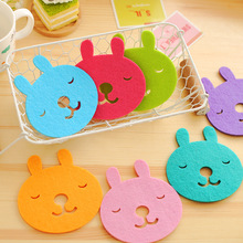 50 laser cut felt craft home decoration cup decoration Coasters Random Color Drink Coasters Lace lovely cute rabbit felt coaster