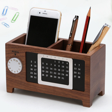 A Natural Wooden Desk Storage Box Simple Design DIY Calendar/MONTH Function Pen Holder Collection Case Color Style In Optional