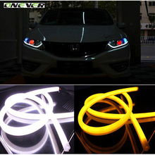 2pcs 45cm Daytime Running Light Universial Flexible Soft Tube Guide Car LED Strip White DRL and Yellow Turn Signal Light