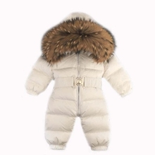 Buy Cold Winter Costumes Baby Clothes Newborn Warm Rompers infant Outwear Snowsuit Fur Collar Duck Waterproof Jumpsuit Boy Girl for $64.79 in AliExpress store