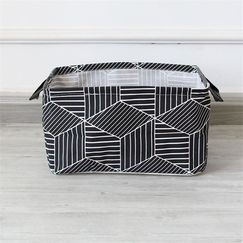 FullLove Home Storage & Organization Cotton Square Nordic Cosmetics Organizer Toys Storage Basket Black Geometric Storage Boxes 6