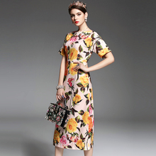 New 2017 spring summer fashion elegant short sleeve women dress yellow rose patterns print cute buttons mid-calf dresses