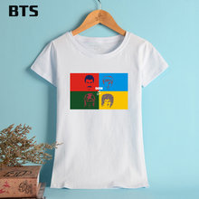 BTS Queen Band T-shirt Women Brand New Fashion Pattern T Shirt Women Plus Size XL Fans Support Casual Tees And Tops For Female(China)