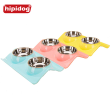 Hipidog Stainless Steel Pet Double Dog Bowl Puppy Cat Durable Water Dish Feeder Leak Proof Dog Bowls Pet Products 38x24x7.5cm(China)